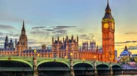 The Palace of Westminster and Westminster Bridge in London, UNESCO world heritage in England